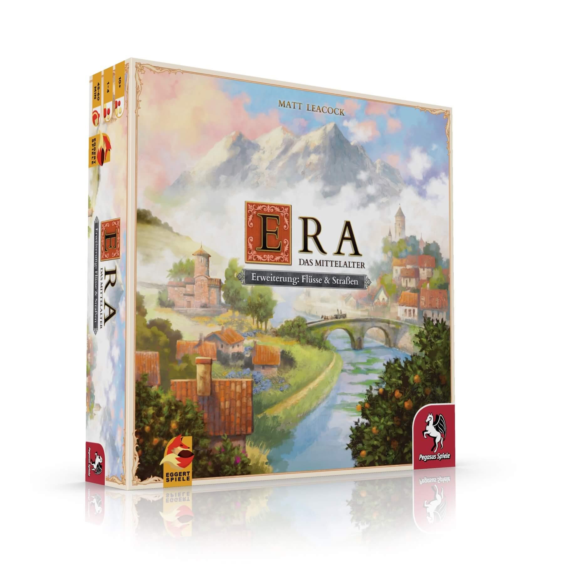 Schachtel Vorderseite, linke Seite- ERA – Das Mittelalter Flüsse & Straßen