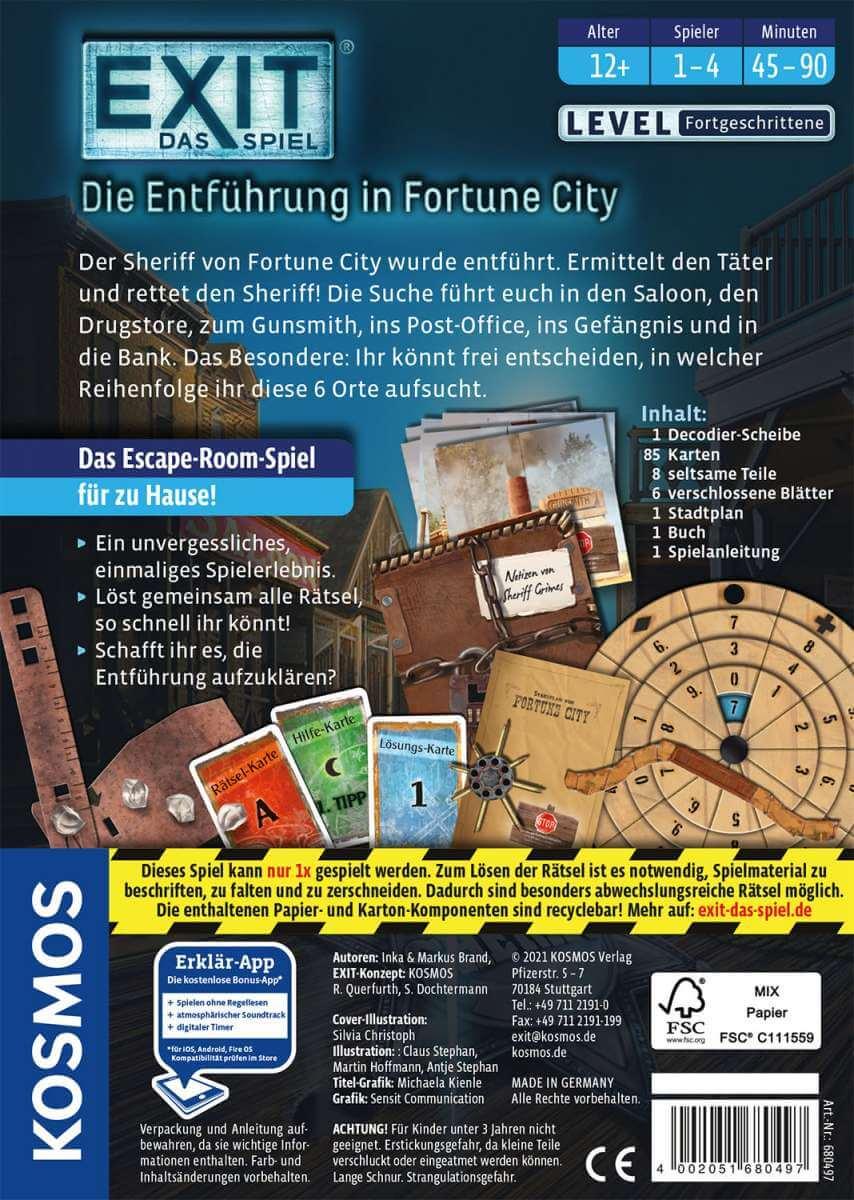 Schachtel Rückseite- EXIT - Das Spiel: Die Entführung in Fortune City