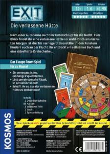 Spielschachtel Rückseite - Kennerspiel des Jahres 2017- EXIT – Das Spiel: Die verlassene Hütte