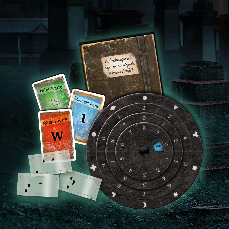 Spielmaterial- EXIT - Das Spiel: Der Friedhof der Finsternis