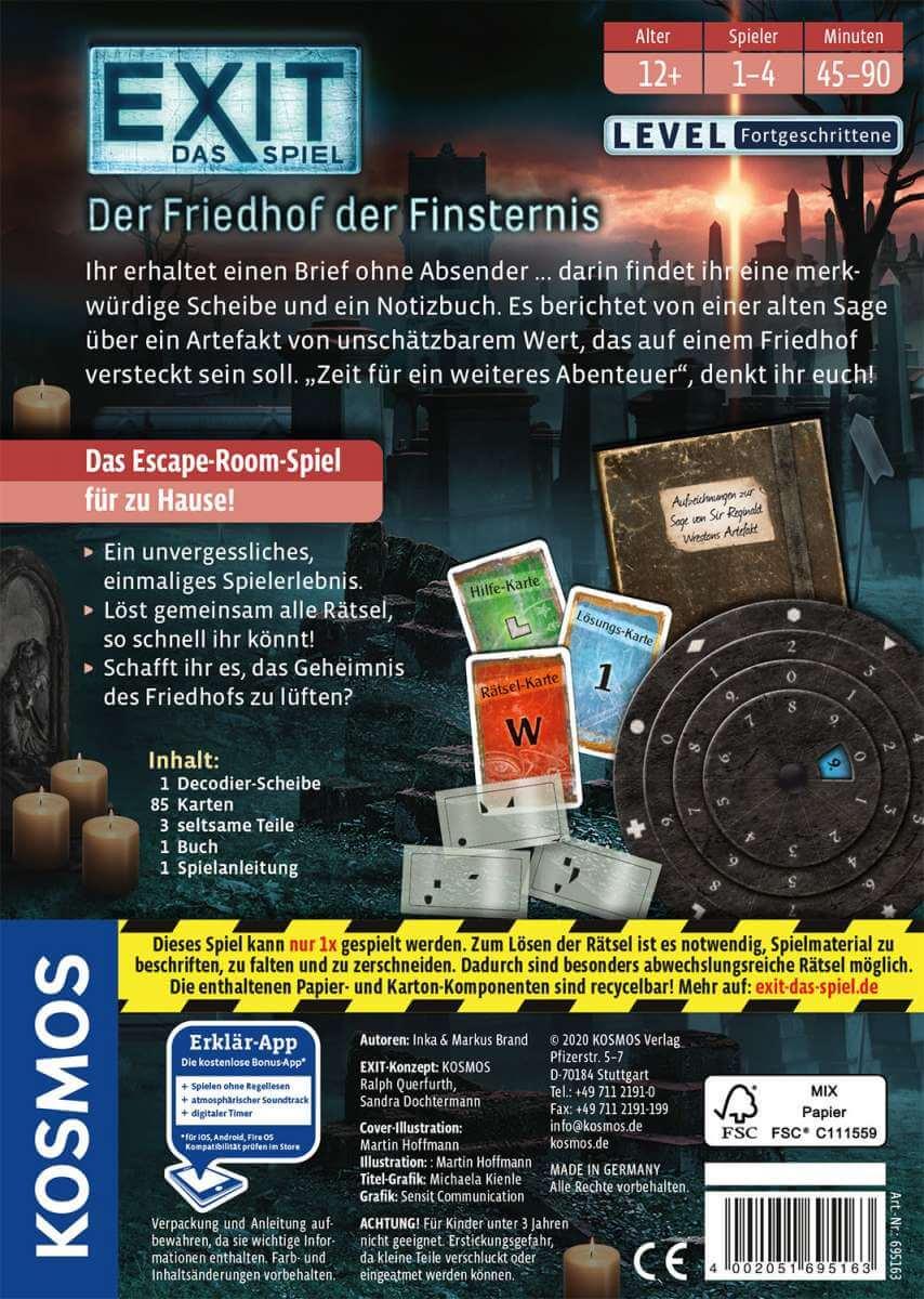 Schachtel Rückseite- EXIT - Das Spiel: Der Friedhof der Finsternis