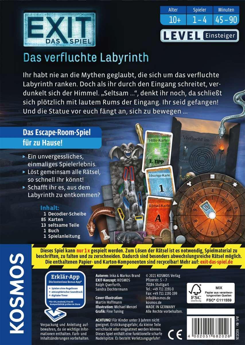 Schachtel Rückseite- EXIT – Das Spiel: Das verfluchte Labyrinth