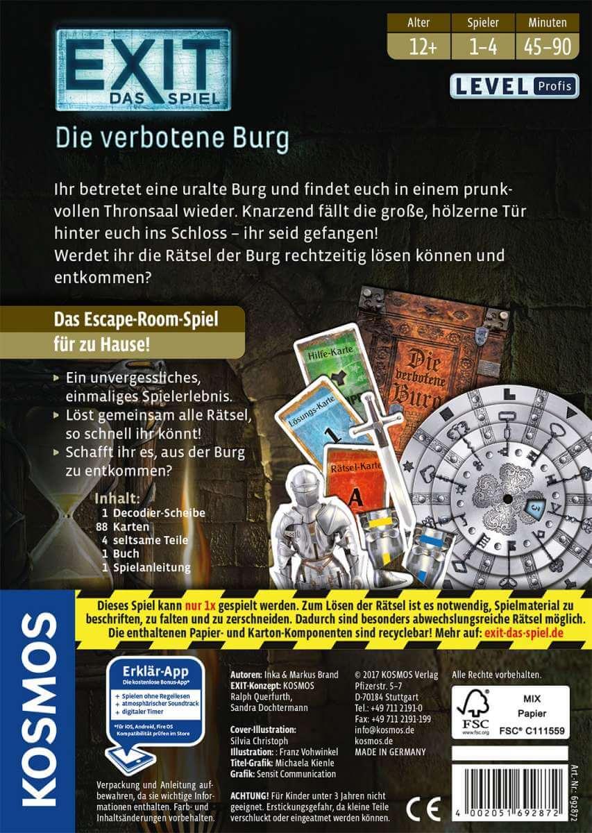 Schachtel Rückseite- EXIT - Das Spiel: Die verbotene Burg