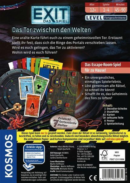 Schachtel Rückseite- EXIT - Das Spiel: Das Tor zwischen den Welten
