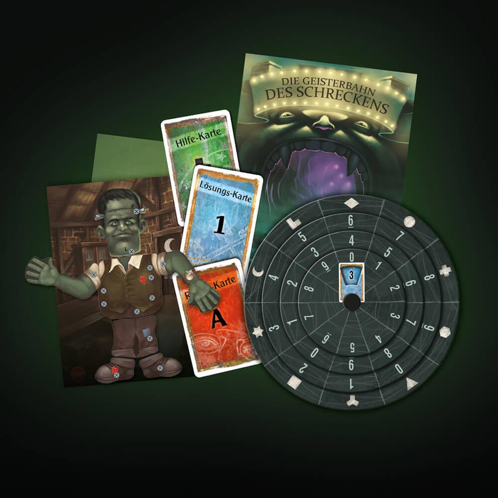 Spielmaterial- EXIT – Das Spiel: Die Geisterbahn des Schreckens