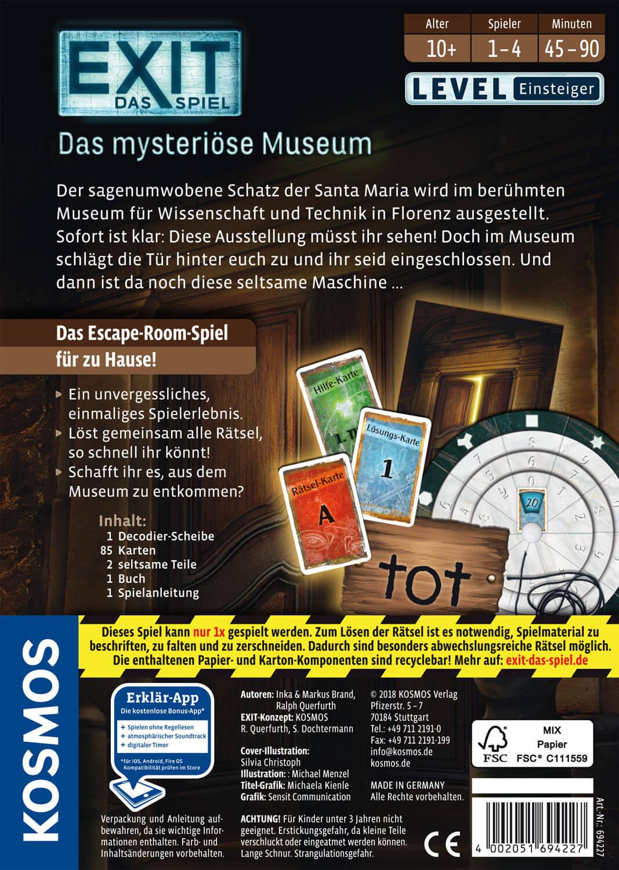 Schachtel Rückseite- EXIT - Das Spiel: Das mysteriöse Museum