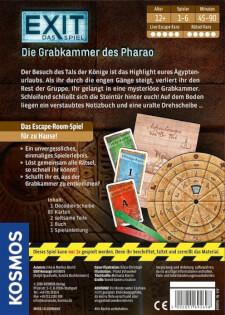 Schachtel Rückseite- EXIT - Das Spiel: Die Grabkammer des Pharao