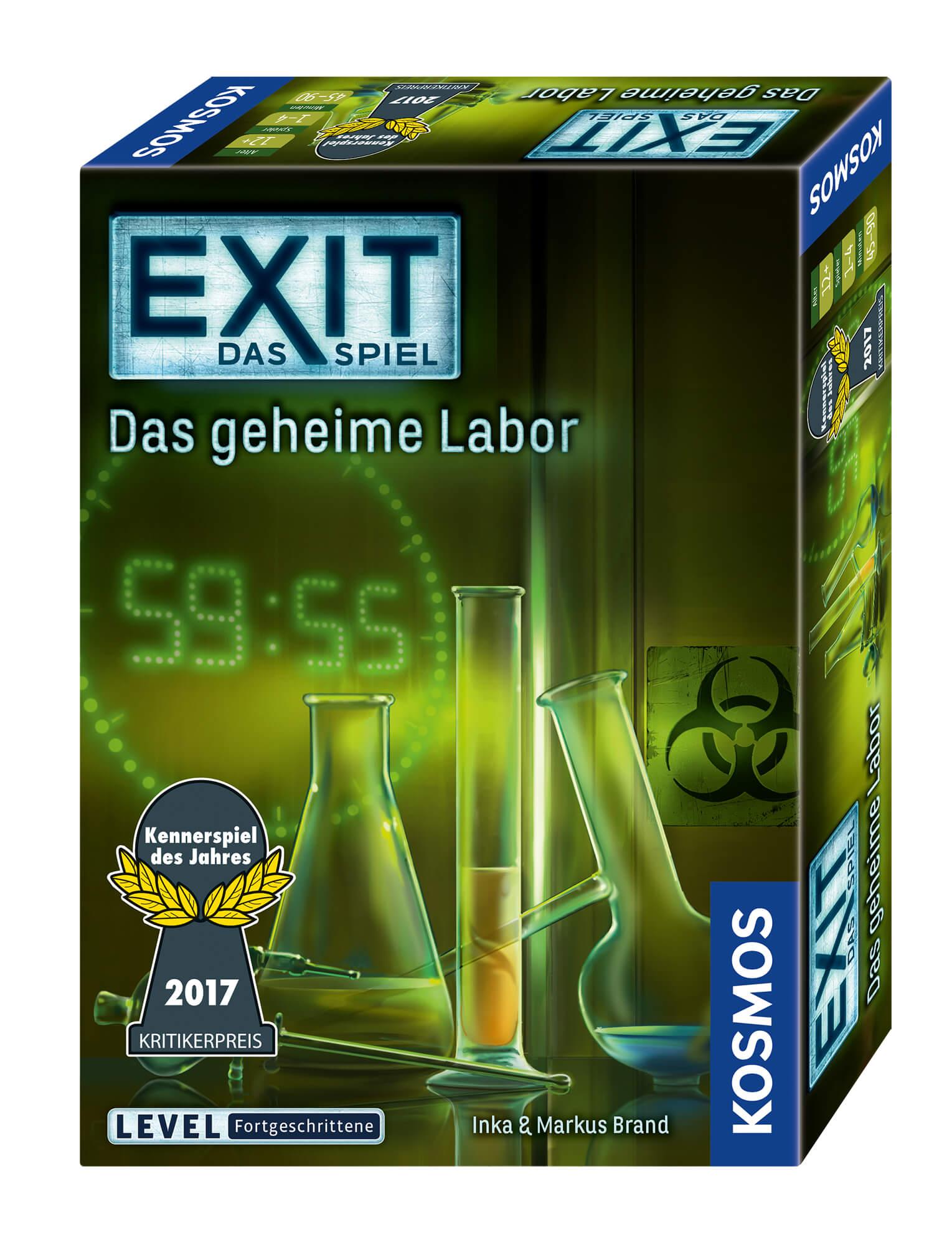Schachtel Vorderseite, rechte Seite - Kennerspiel des Jahres 2017- EXIT – Das Spiel: Das geheime Labor