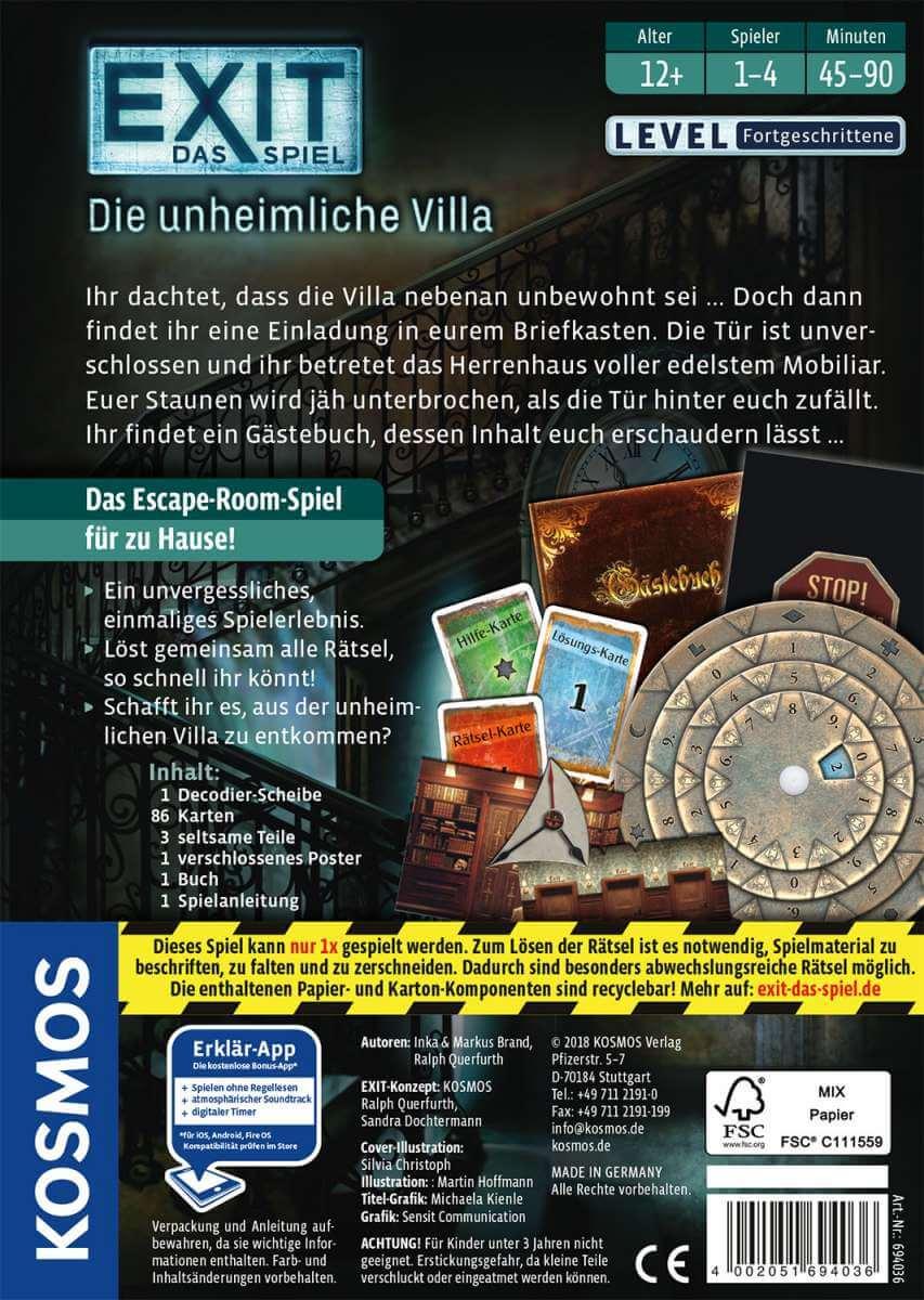 Schachtel Rückseite- EXIT - Das Spiel: Die unheimliche Villa