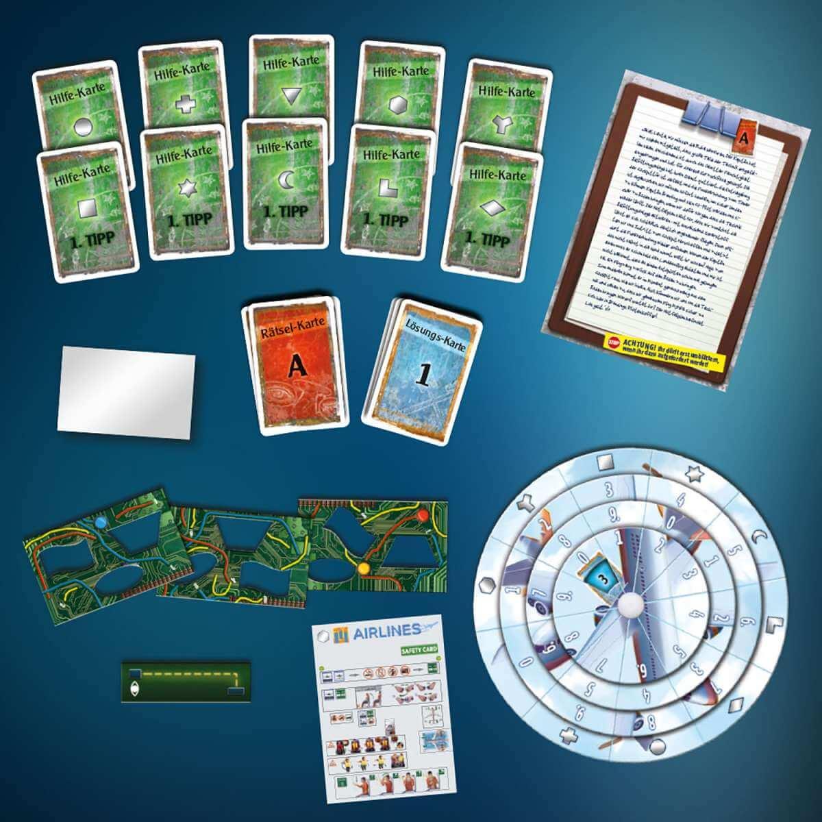 Spielmaterial- EXIT - Das Spiel: Der Flug ins Ungewisse
