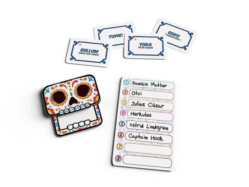 Spielmaterial - Karten und Totenkopf- Fiesta de los Muertos
