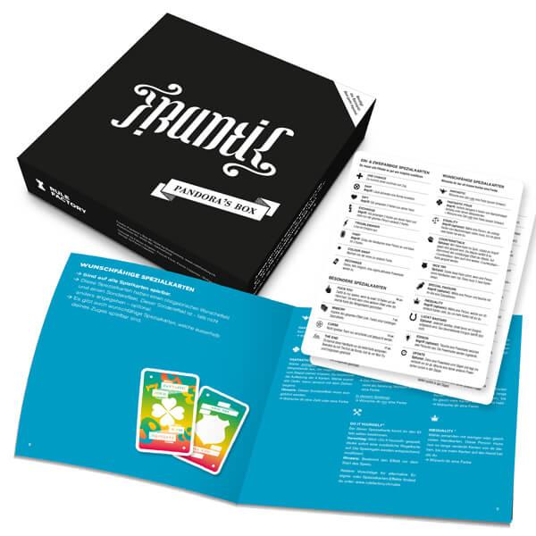 Schachtel Vorderseite - Spielanleitung- Frantic: Pandora