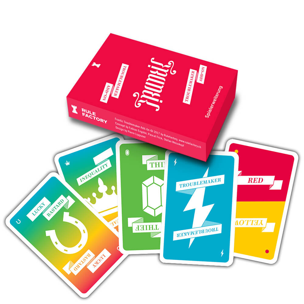 Schachtel Vorderseite - Spielkarten- Frantic Troublemaker Add-On