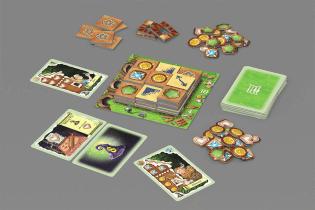 Spielmaterial - Spielkarten, Spielplan und Chips- Hexenhaus