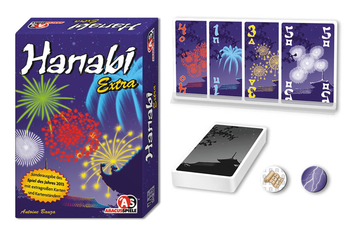 Schachtel, Spielkarten und Chips - Spiel des Jahres 2013- Hanabi Extra