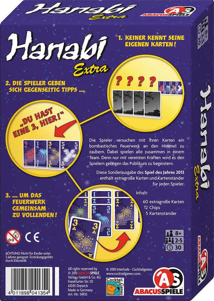 Schachtel Rückseite - Spiel des Jahres 2013- Hanabi Extra