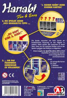 Schachtel Rückseite - Spiel des Jahres 2013- Hanabi Fun & Easy