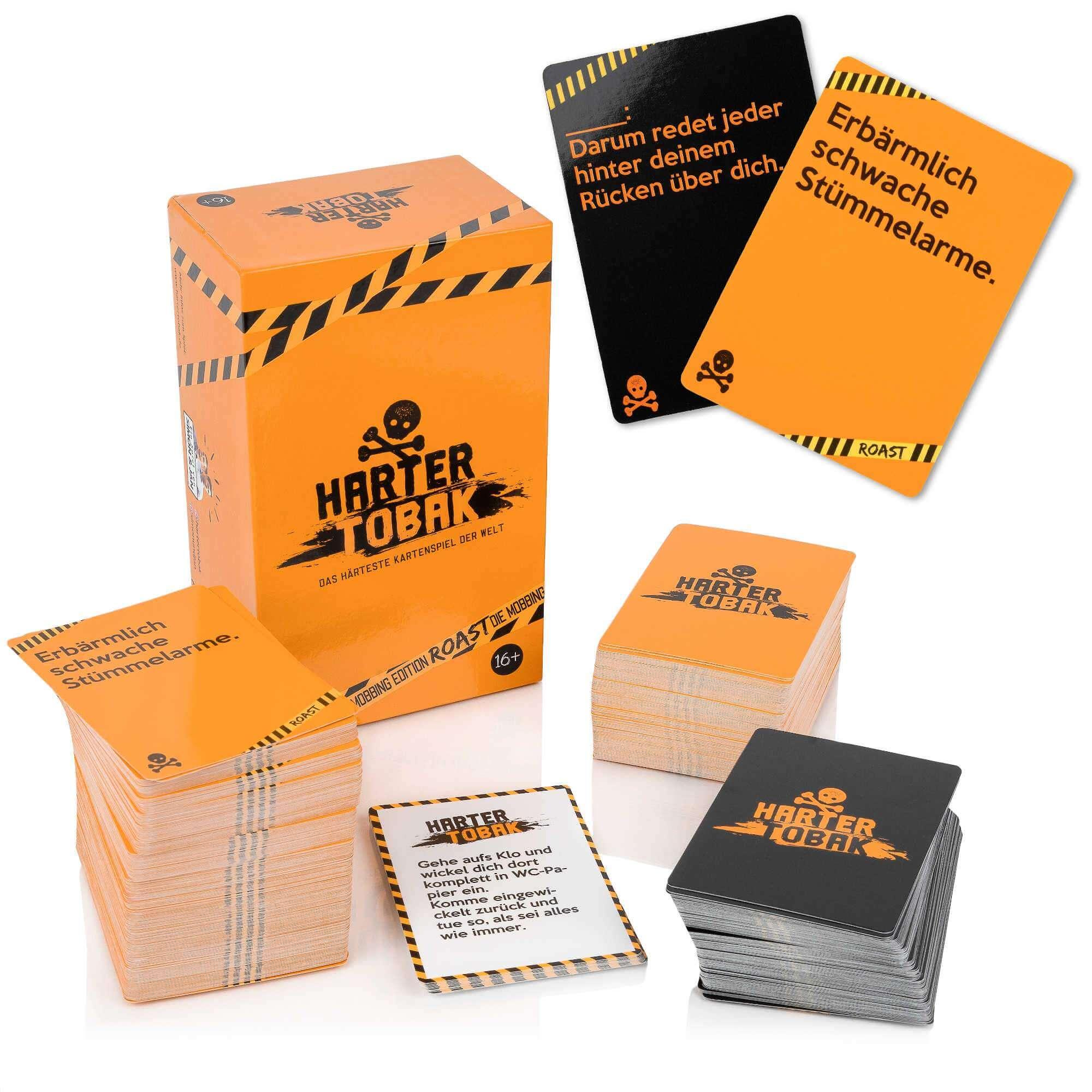 Schachtel und Spielkarten- Harter Tobak Roast - Mobbing Edition
