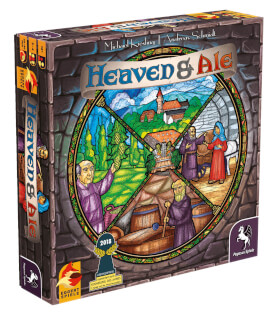 Schachtel Vorderseite, linke Seite - nominiert zum Kennerspiel des Jahres 2018- Heaven & Ale