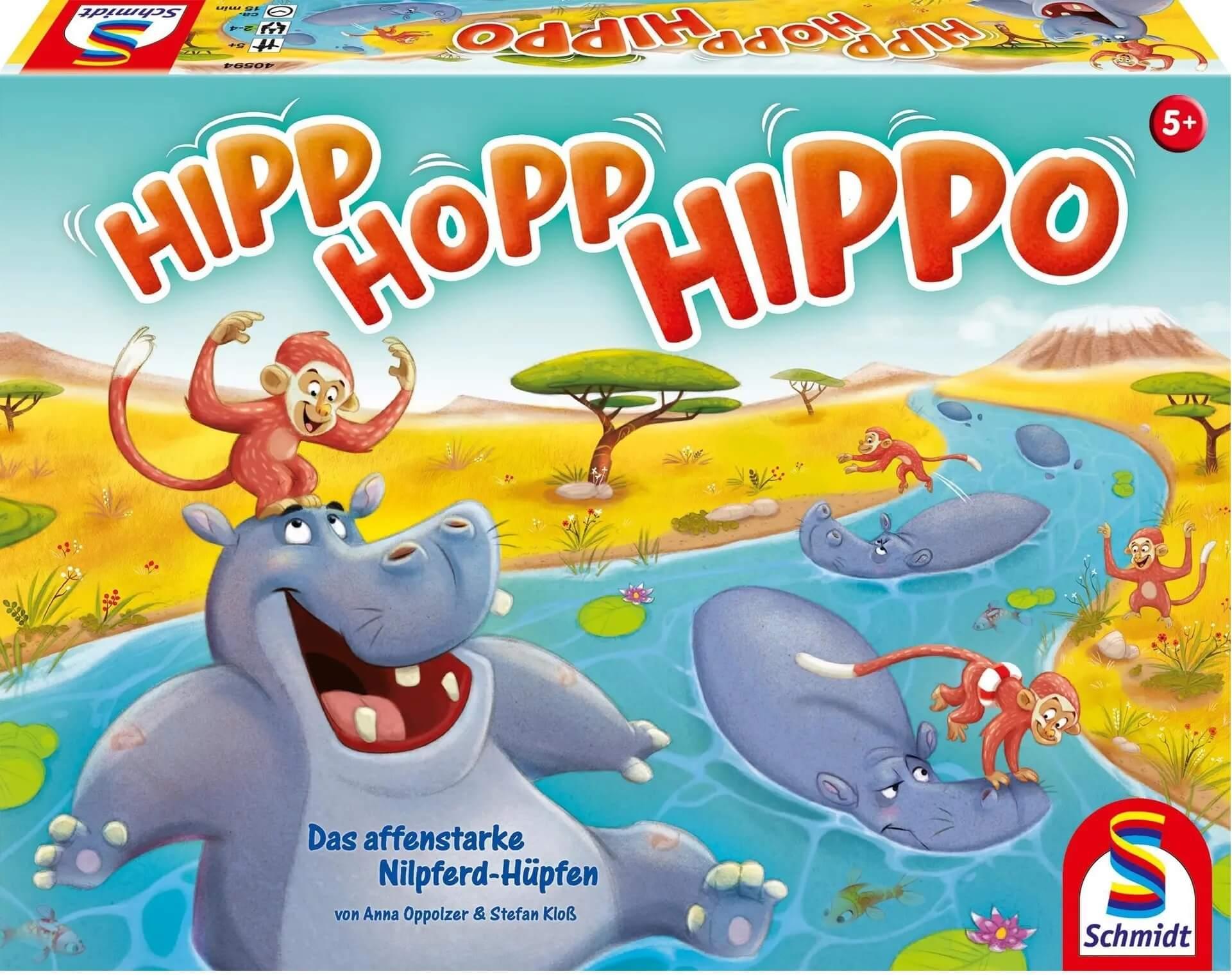 Schachtel Vorderseite - nominiert zum Kinderspiel 2021- Hipp Hopp Hippo