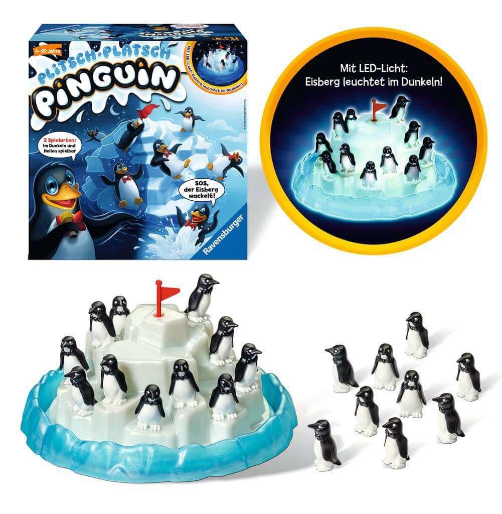 Spielmaterial mit Schachtel- Plitsch-Platsch Pinguin