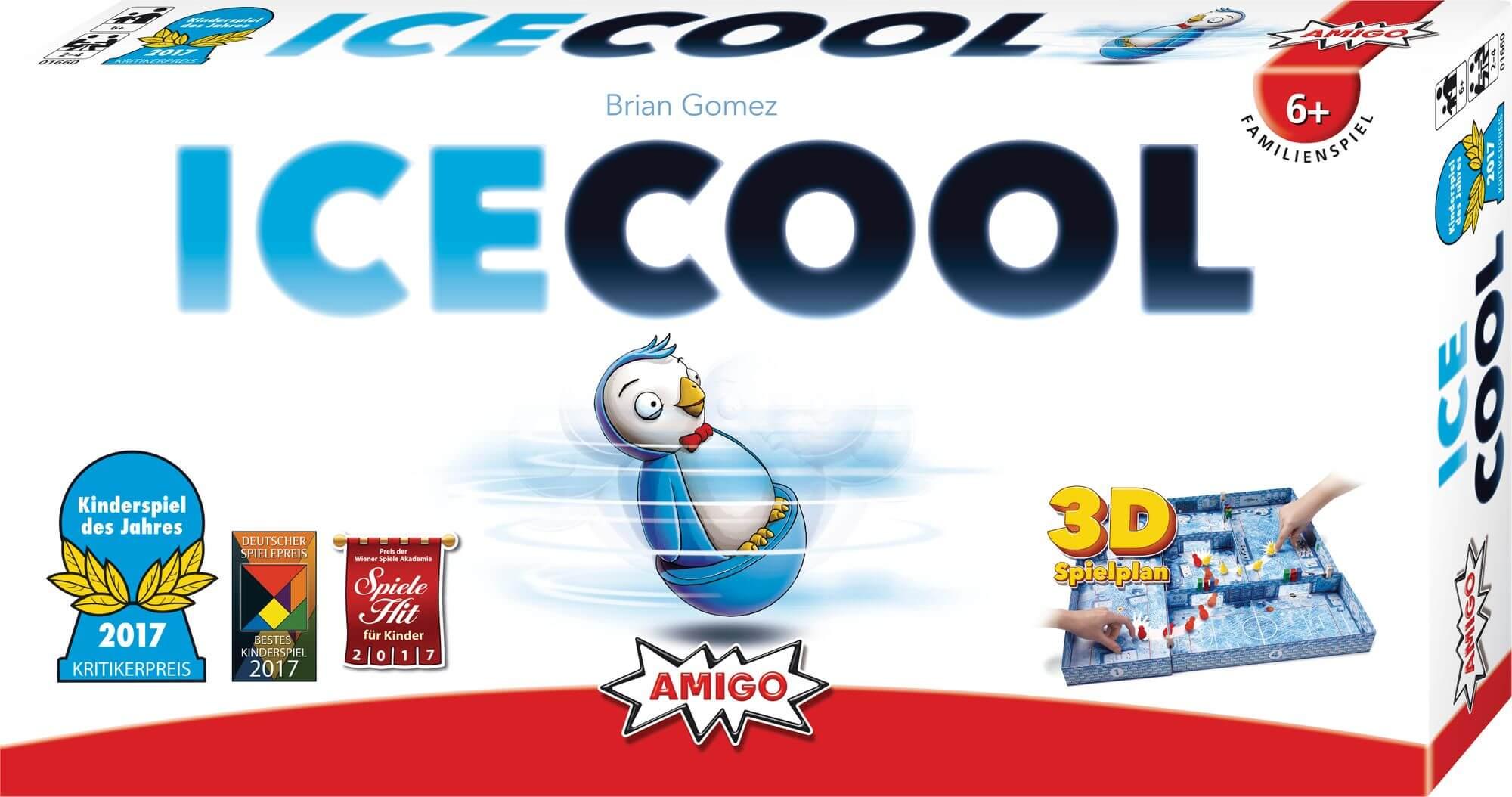 Schachtel Vorderseite, linke Seite - Kinderspiel des Jahres 2017- ICECOOL