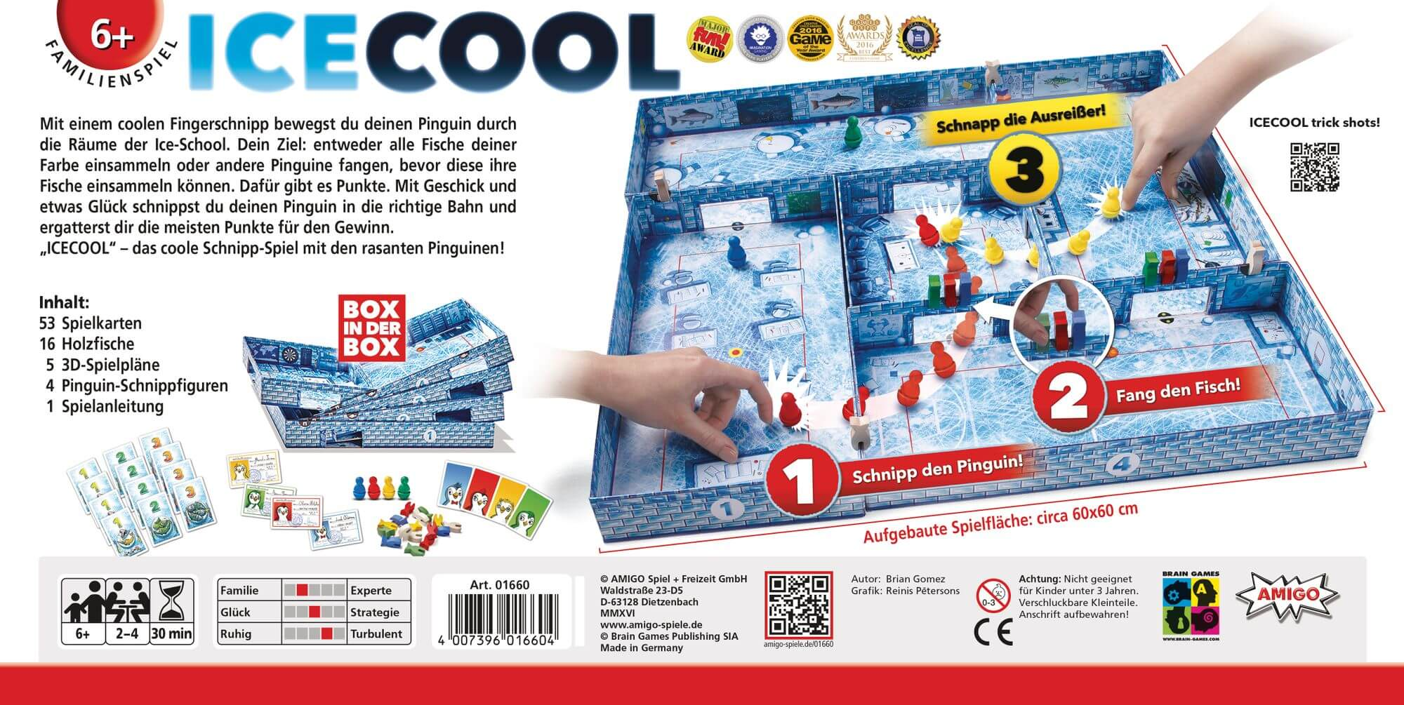 Schachtel Rückseite - Kinderspiel des Jahres 2017- ICECOOL