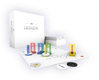 Gesamtes Spielmaterial - Spielplan mit Karten und Figuren- iKNOW
