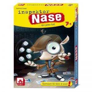 Schachtel Vorderseite - empfohlen zum Kinderspiel 2021- Inspektor Nase