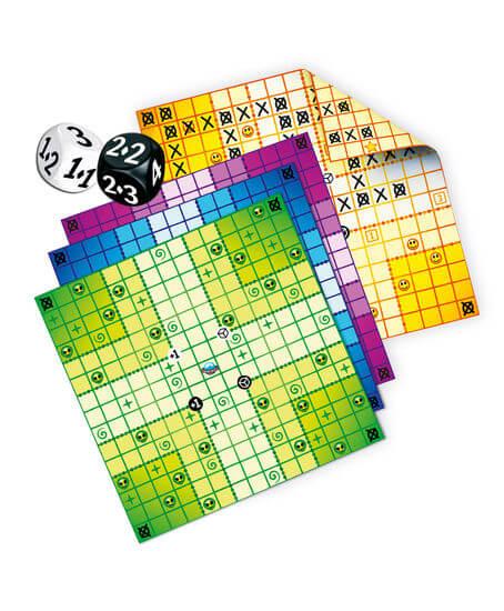 Spielmaterial - Würfel und Spielblätter- Kannste knicken