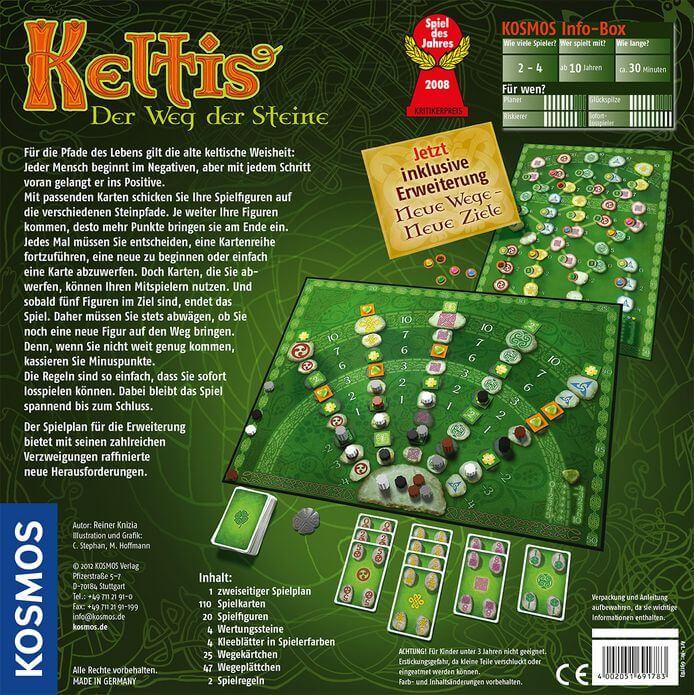 Schachtel Rückseite - Spiel des Jahres 2008- Keltis