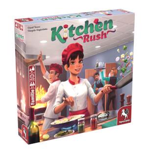 Schachtel Vorderseite, linke Seite - Empfohlen zum Spiel des Jahres 2020- Kitchen Rush