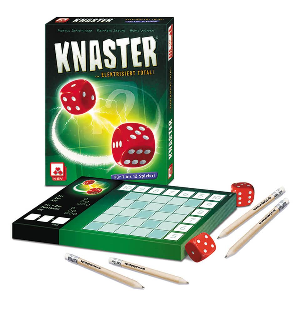 Spielinhalt und Schachtel Vorderseite - Block, Würfel und Bleistifte- Knaster