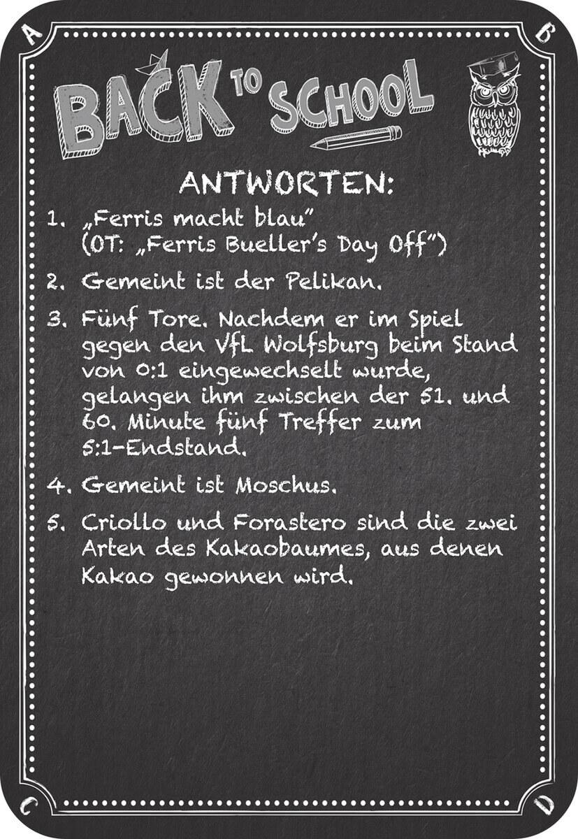 Fragekarte- Kneipenquiz: Back to School