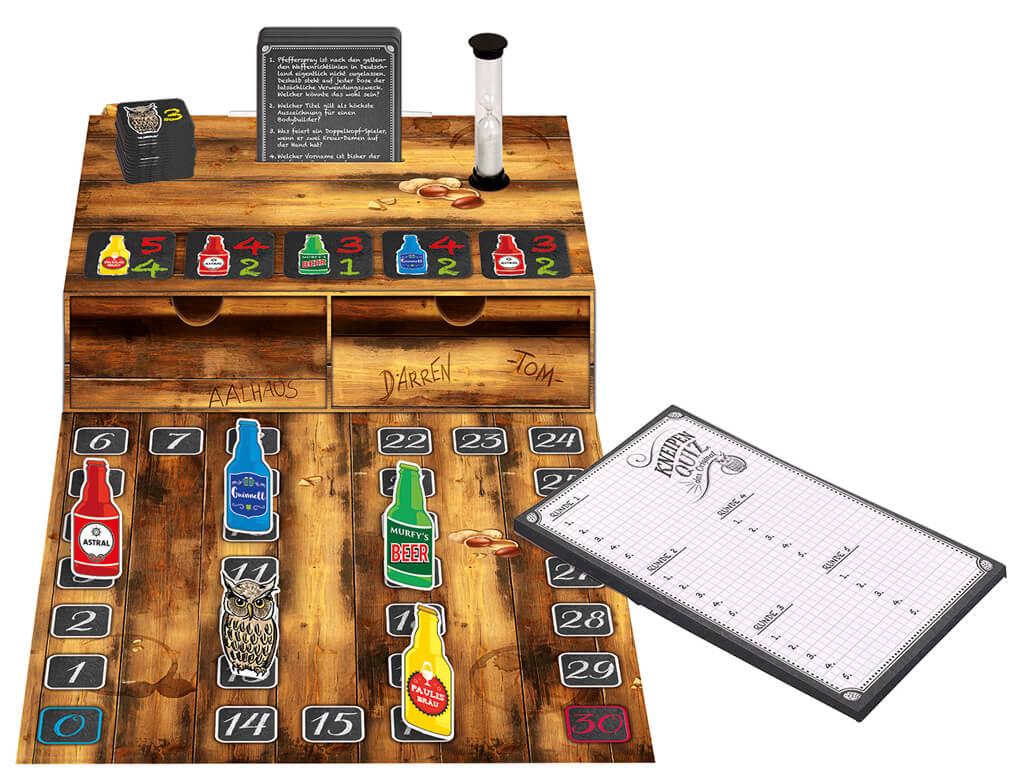 Spielmaterial - Spielschachtel mit Block, Karten und Sanduhr- Kneipenquiz - Das Original
