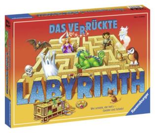 Schachtel Vorderseite, linke Seite - nominiert zum Spiel des Jahres 1986- Das verrückte Labyrinth
