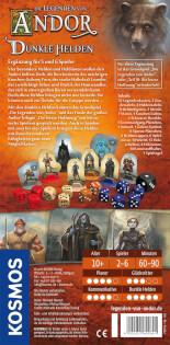 Schachtel Rückseite- Die Legenden von Andor - Dunkle Helden