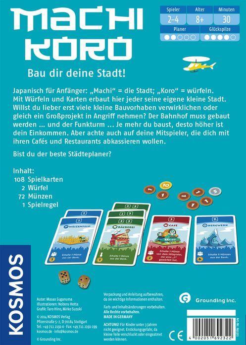 Schachtel Rückseite - nominiert zum Spiel des Jahres 2015- Machi Koro