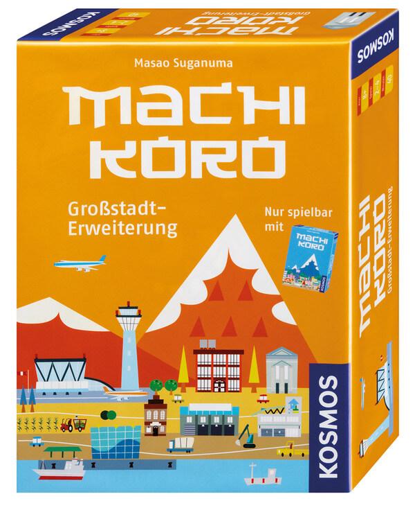 Schachtel Vorderseite, rechte Seite- Machi Koro - Grossstadt-Erweiterung