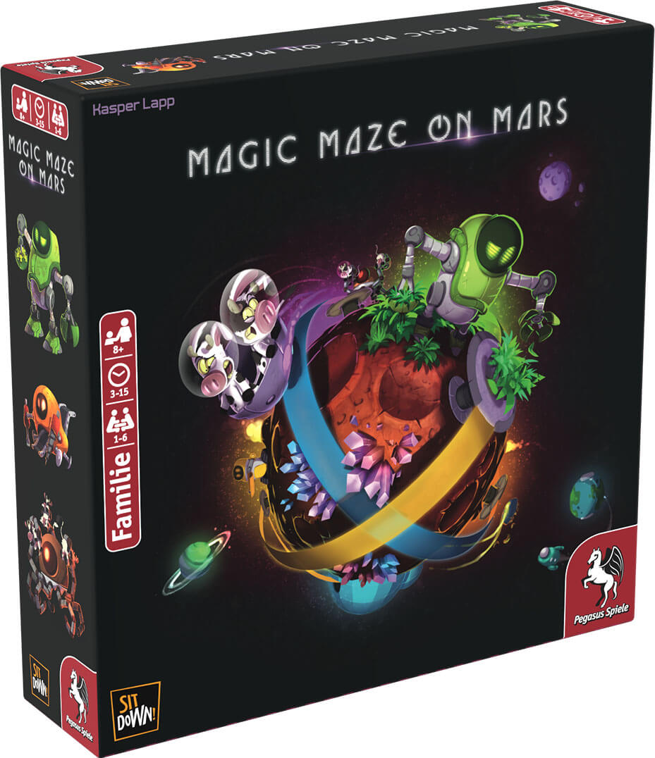 Schachtel Vorderseite, linke Seite- Magic Maze on Mars