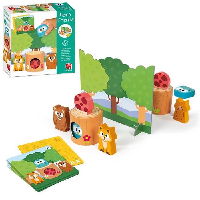 Spielmaterial und Schachtel - empfohlen zum Kinderspiel des Jahres 2021- Memo Friends