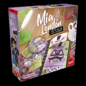 Schachtel Vorderseite, linke Seite - nominiert zum Kinderspiel 2021- Mia London
