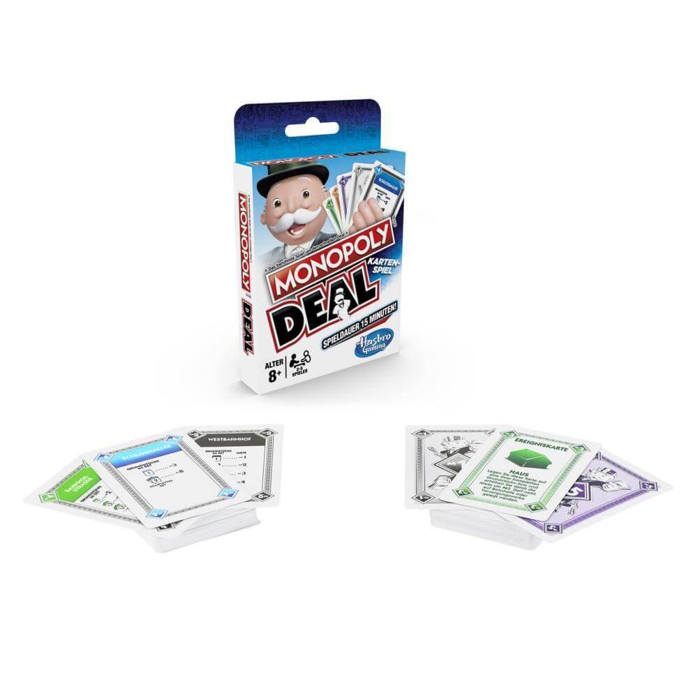 Schachtel Vorderseite und Spielkarten- Monopoly Deal