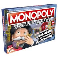 Schachtel Vorderseite, linke Seite - Monopoly für schlechte Verlierer