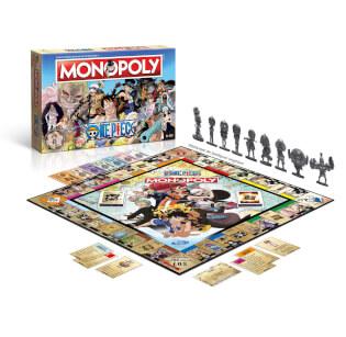 Schachtel Vorderseite und Spielmaterial mit Figuren- Monopoly - One Piece