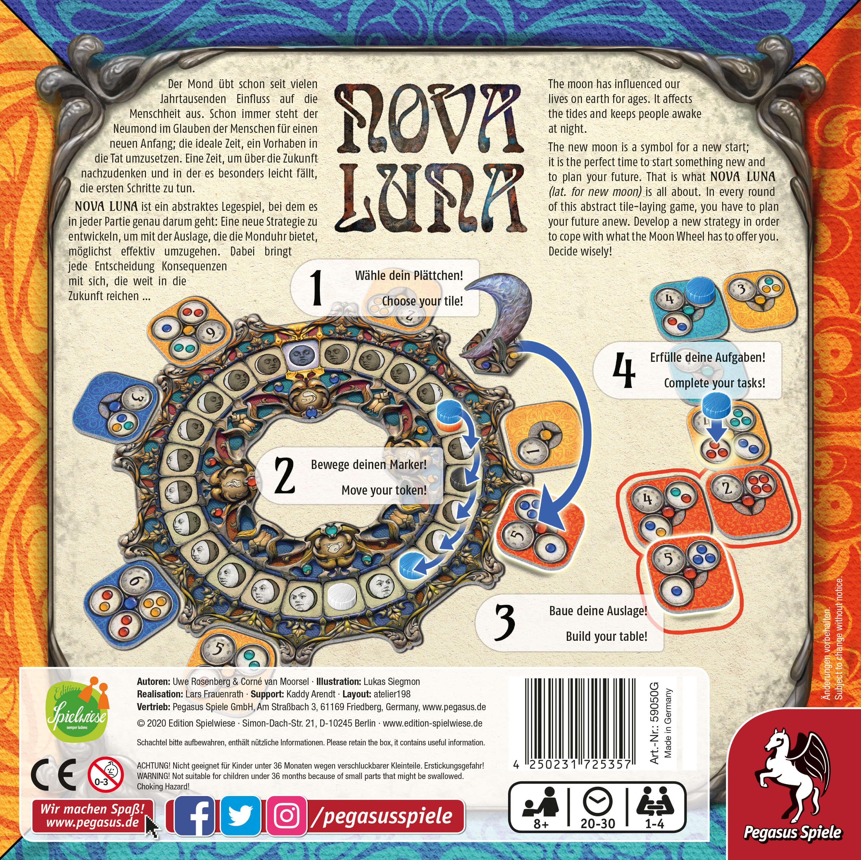Schachtel Rückseite - Das familienfreundliche Legespiel- Nova Luna