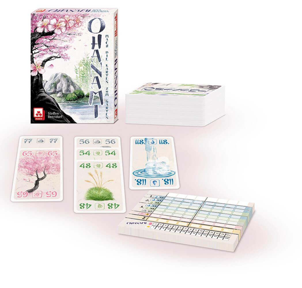 Spielmaterial - Karten und Block- Ohanami