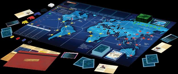 Spielplan mit schönem Spielmaterial - nominiert zum Kennerspiel des Jahres 2016- Pandemic Legacy - Season 1