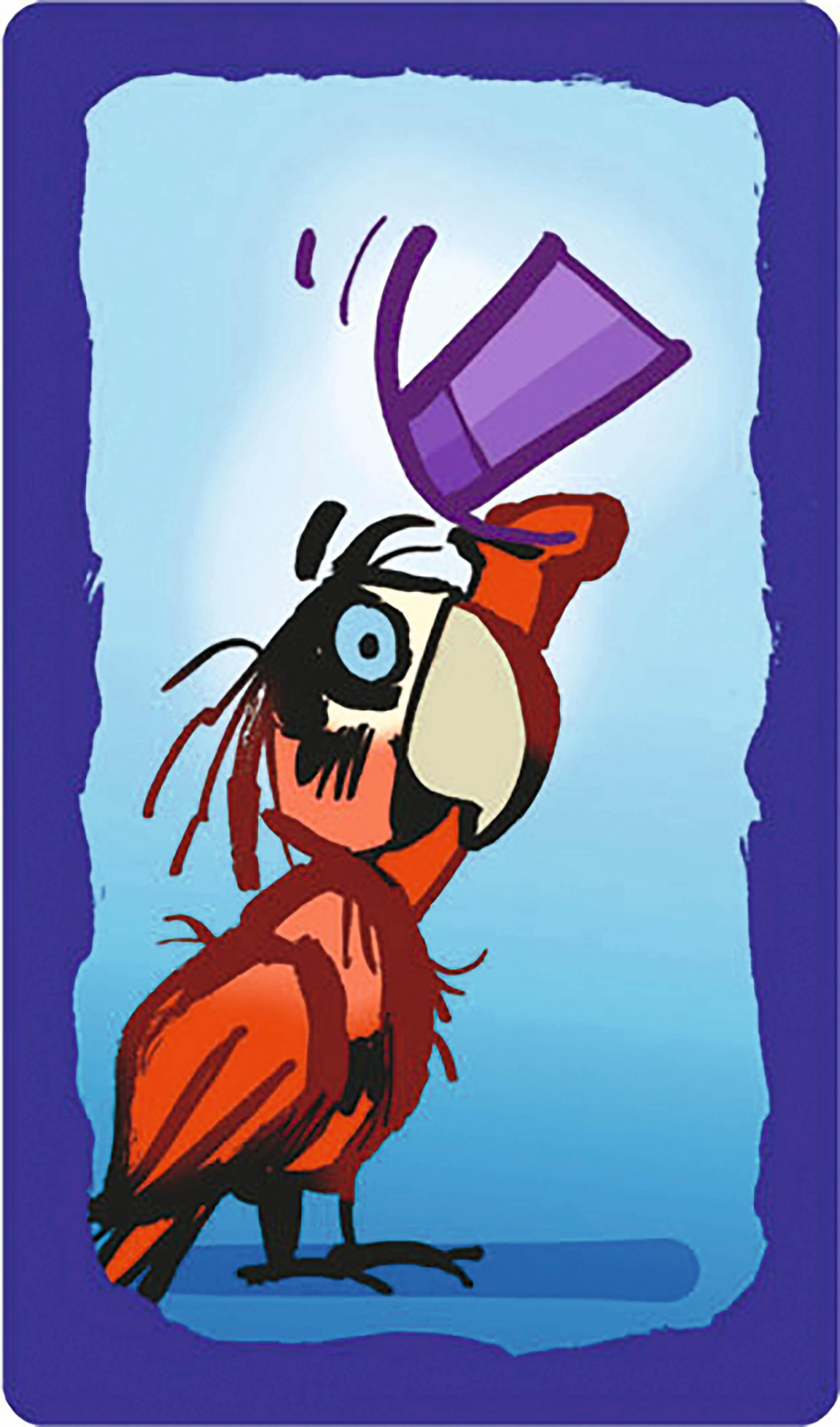 Spielkarte - roter Papagei- Plapparagei