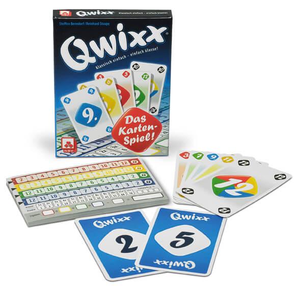 Spielmaterial mit Schachtel- Qwixx - Das Kartenspiel